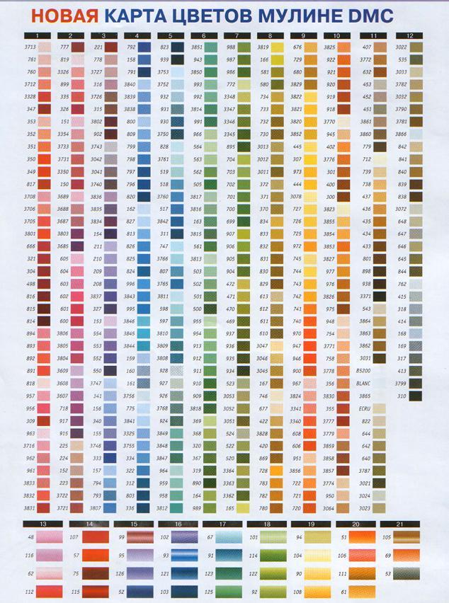 Новая карта цветов мулине DMC