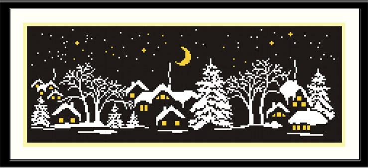 Деревня зимней ночью